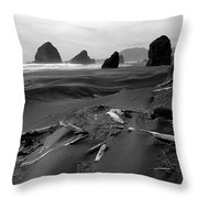 Oregon Coast Black And White Throw Pillow