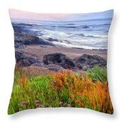 Oregon Coast Wildflowers Throw Pillow