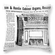 Organ Ad, 1870 Throw Pillow