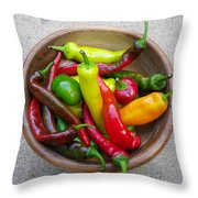 Organic Colorful Peppers Throw Pillow