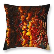 Organically-grown Peppers Are Hung Throw Pillow