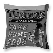 Original Nathan's In Black And White  Throw Pillow