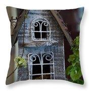 Ornamental Bird House Throw Pillow