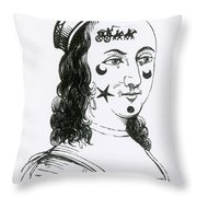 Ornamental Patches On Face, 17th Century Throw Pillow