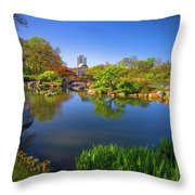 Osaka Garden Pond Throw Pillow