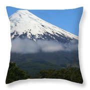 Osorno Volcano Ringed By Clouds Throw Pillow