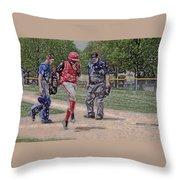 Ouch Baseball Foul Ball Digital Art Throw Pillow