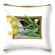 Out Of Frame Yellow Tulips Throw Pillow