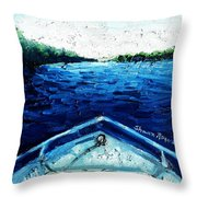 Out On The Boat Throw Pillow