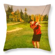 Out On The Course Throw Pillow