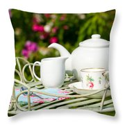 Outdoor Tea Party Throw Pillow by Amanda Elwell