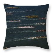 Outrigger Canoes Race From Molokai Throw Pillow