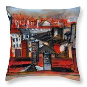 Over The Roofs Throw Pillow