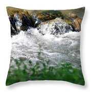Over The Stones The Water Flows Throw Pillow