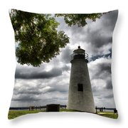 Overcast Clouds At Turkey Point Lighthouse Throw Pillow