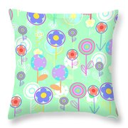 Overlayer Flowers  Throw Pillow