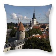 Overview Of Old Town, Medieval Throw Pillow