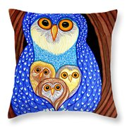 Owl And Owlettes Throw Pillow