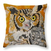 Owl In The Fall Throw Pillow