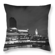 Oxo Tower Night  Bw Throw Pillow
