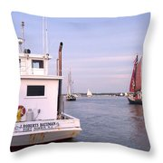 Oyster Boat On The River  Throw Pillow