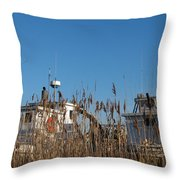 Oyster Boats In Dry Dock  Throw Pillow