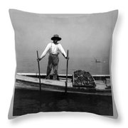 Oyster Fishing On The Chesapeake Bay - Maryland - C 1905 Throw Pillow