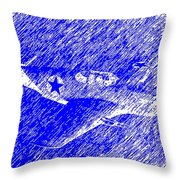 P 51 Mustang Flying In The Rain Throw Pillow