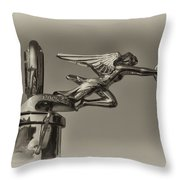 Packard Angel Hood Ornament In Sepia Throw Pillow