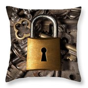 Padlock Over Keys Throw Pillow by Carlos Caetano
