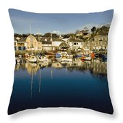Padstow Marina Reflecting In Water Throw Pillow