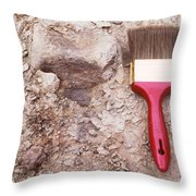 Paint Brush Next To Camarasaurus Throw Pillow