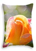Paint Daub Yellow Rose Throw Pillow