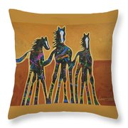 Paint My Ponies Throw Pillow