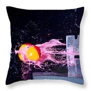 Paintball Shot At Razor Blade Throw Pillow