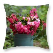 Painted Bucket Of Flowers Throw Pillow