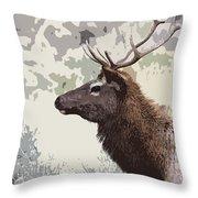Painted Bull Elk Throw Pillow