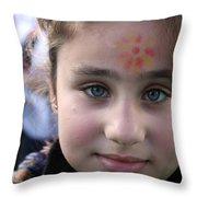 Painted Face At 1st Nativity International Christmas Festival Throw Pillow