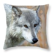 Painted Grey Wolf Throw Pillow