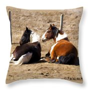 Painted Horses I Throw Pillow