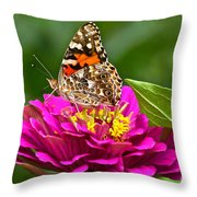 Painted Lady With Zinnia Throw Pillow