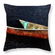 Painted Row Boat Throw Pillow