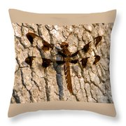 Painted Skimmer On Oak Throw Pillow