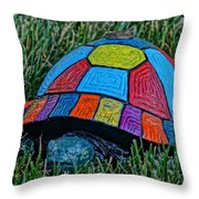 Painted Turtle Sprinkler Throw Pillow