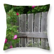 Painterly Fence And Roses Throw Pillow