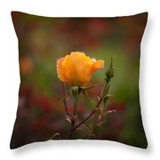 Painterly Yellow Rose Throw Pillow