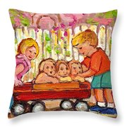 Paintings For Children - Boy - Girl - Red Wagon And Puppies Throw Pillow