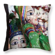 Pair Of Large Puppets At The Surajkund Mela Throw Pillow
