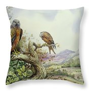 Pair Of Red Kites In An Oak Tree Throw Pillow by Carl Donner