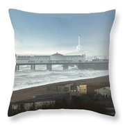Palace Pier And Shoreham Power Station Throw Pillow